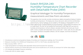 Extech RH520A-240: Humidity+Temperature Chart Recorder with Detachable Probe (240V)
