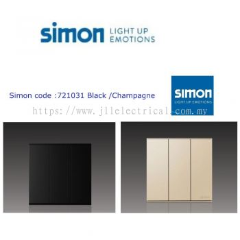 SIMON SWITCH 721031, 16A 3 GANG 1 WAY SWITCH COLOR BLACK