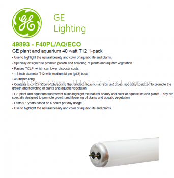GE 49893 - F40PL/AQ/ECO T12 PLANT & AQUARIUM TUBE