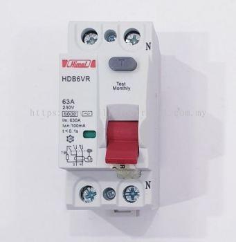 Himel HDB6VR RCCB/ELCB 63A 2P 100mA (0.1A) AC-Type