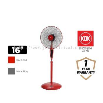"KDK 16"" Stand Fan KX405 Metal Grey / Deep Red"