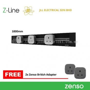 ZENSO-Z-Line PLS1000mm Z Line Power Management Track +2 Unit British Compact Adaptor (Black)