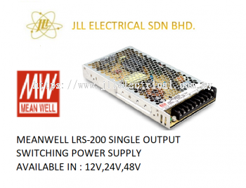 MEANWELL LRS-200 12V 17AMP SINGLE OUTPUT SWITCHING POWER SUPPLY