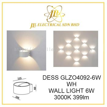 DESS GLZO4092-6W WH INDOOR WALL LIGHT 6W 3000K 399lm