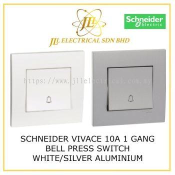 SCHNEIDER VIVACE 1 GANG BELL PRESS SWITCH WHITE/SILVER ALUMINIUM [KB31BPB_WE_G11/ KB31BPB_AS_G11]
