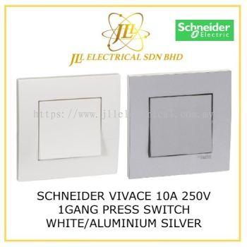 SCHNEIDER VIVACE 10A 1 GANG BELL PRESS SWITCH WHITE/SILVER ALUMINIUM [KB31BP_WE_G11/ KB31BP_AS_G11]