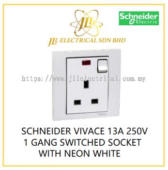 SCHNEIDER VIVACE 13A 250V 1 GANG SWITCHED SOCKET WITH NEON WHITE [KB15N_WE_G11]