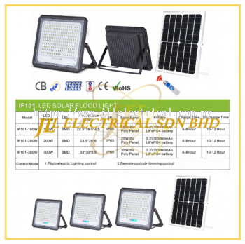 JLUX IF101 LED SOLAR FLOODLIGHT *Photoelectric Lighting control & Remote control + Timing control [100W/200W/300W][3000K/4000K/6500K]