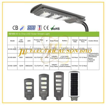 JLUX IS105 LED SOLAR STREETLIGHT *Photoelectric Lighting control & Remote control + PIR Motion Sensor [60W/90W/120W][3000K/4000K/6500K]
