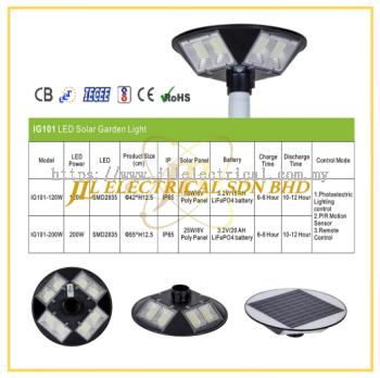 JLUX IG101 LED SOLAR GARDEN LIGHT *Photoelectric Lighting control & Remote control + PIR Motion Sensor [120W/200W][3000K/4000K/6500K]