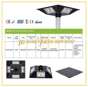 JLUX IG102 LED SOLAR GARDEN LIGHT *Photoelectric Lighting control & Remote control + PIR Motion Sensor [300W][3000K/4000K/6500K]