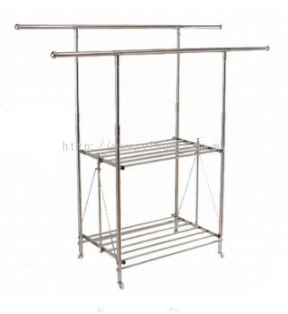 Foldable 2 Bar 2 Layer Steel Clothe Hanger