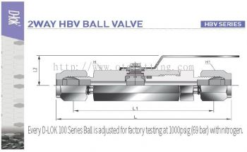 D-Lok SS316 1000psi Compression / Tube End 2 Way Straight Ball Valves - HBVD-10M