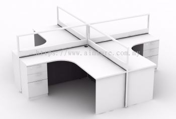 4 pax workstation white colour