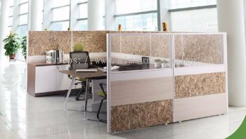 Manager single cluster of L shape workstation with abies leg and credenza return