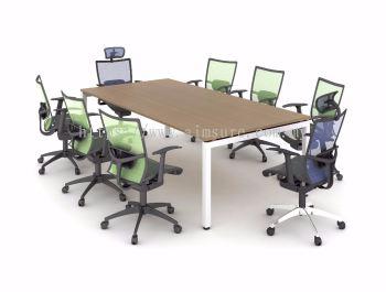 Rectangular 8 x 4 meeting table with white rumex metal leg