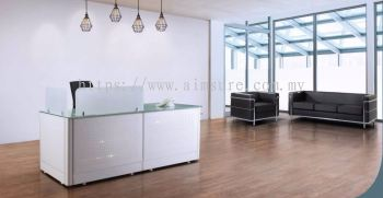 Reception counter with tempered glass and metal front panel