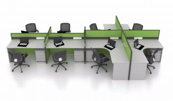 8 pax workstation with mix of  rectangular and L shape table for executive