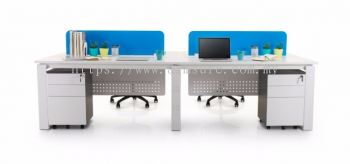 4 gang rectangular workstation AIM Desking system