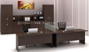 L shape table with glass top divider walnut