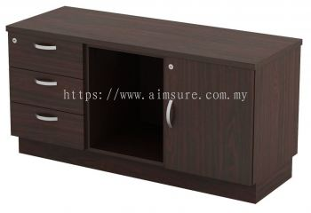 Fixed Pedestal with Open Shelf and Swinging Door Cabinet (AIM6122)