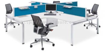 4 person L shape workstation AIM desking with rumex leg