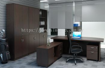 D Shape Director table with wooden panel