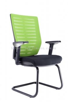Visitor chair with epoxy chrome base and adjustable armrest AIM1-VA-Leaf