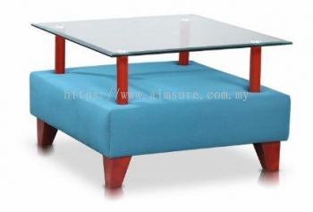 Square Tempered glass side coffee table with wooden base AIM9999-ST