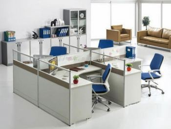 4 cluster L shape workstation with AIM Slim Block System