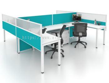 L shape U leg workstation with polycarbonate hanging partition