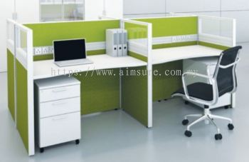 4 gang call centre workstation with full board and half glass partition
