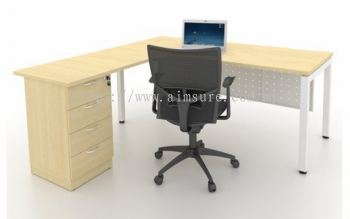 L shape executive table with U leg and 4 drawer fixed pedestal