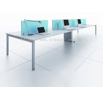 6 person workstation with desking fabric panel