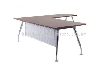 Executive L shape table with chrome leg
