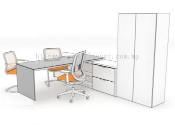 L shape executive table with side cabinet and tall cabinet 1