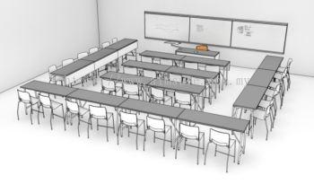 Seminar room sitting arrangement (3D drawing)