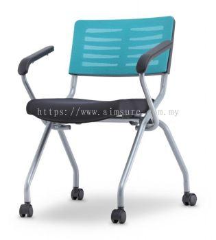 Mesh folding chair with armrest and castor AIM2MA-AXIS