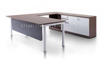 L shape table with Rumex leg and credenza cabinet