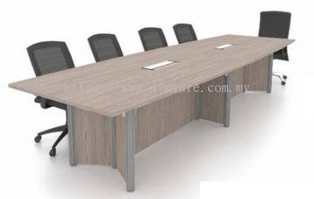 Conference table with Pole leg and wooden modesty panel with PS socket