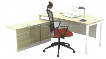 L shape table with side cabinet and pedestal AIM180A-SMB