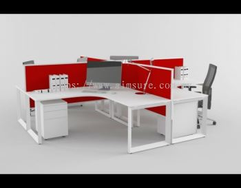 4 gang of cross shape workstation with red desking system and square leg