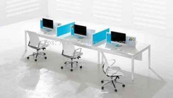 6 pax Linear workstation with U metal leg