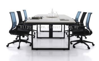 Boat shape conference table with metal leg
