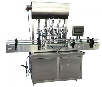 4 nozzle fully auto piston volumetric filling,capping,labelling,injet marking machine
