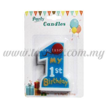 My 1st Birthday Candle -Blue (CDL-FB-B)