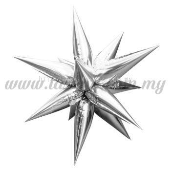 Foil Balloon Taper Star (L) Silver 12pcs (FB-783-LS12)