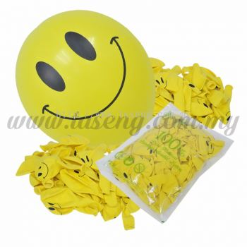 12inch Smilling Face 1 Side Printed Balloons - Yellow 100pcs (B-SMF12-210P)