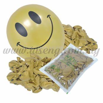 12inch Smilling Face 1 Side Printed Metallic Balloons - Gold 100pcs (B-SMF12-818P)