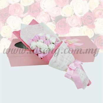 21pcs Soap Flower -White & Pink (FW-21WP)